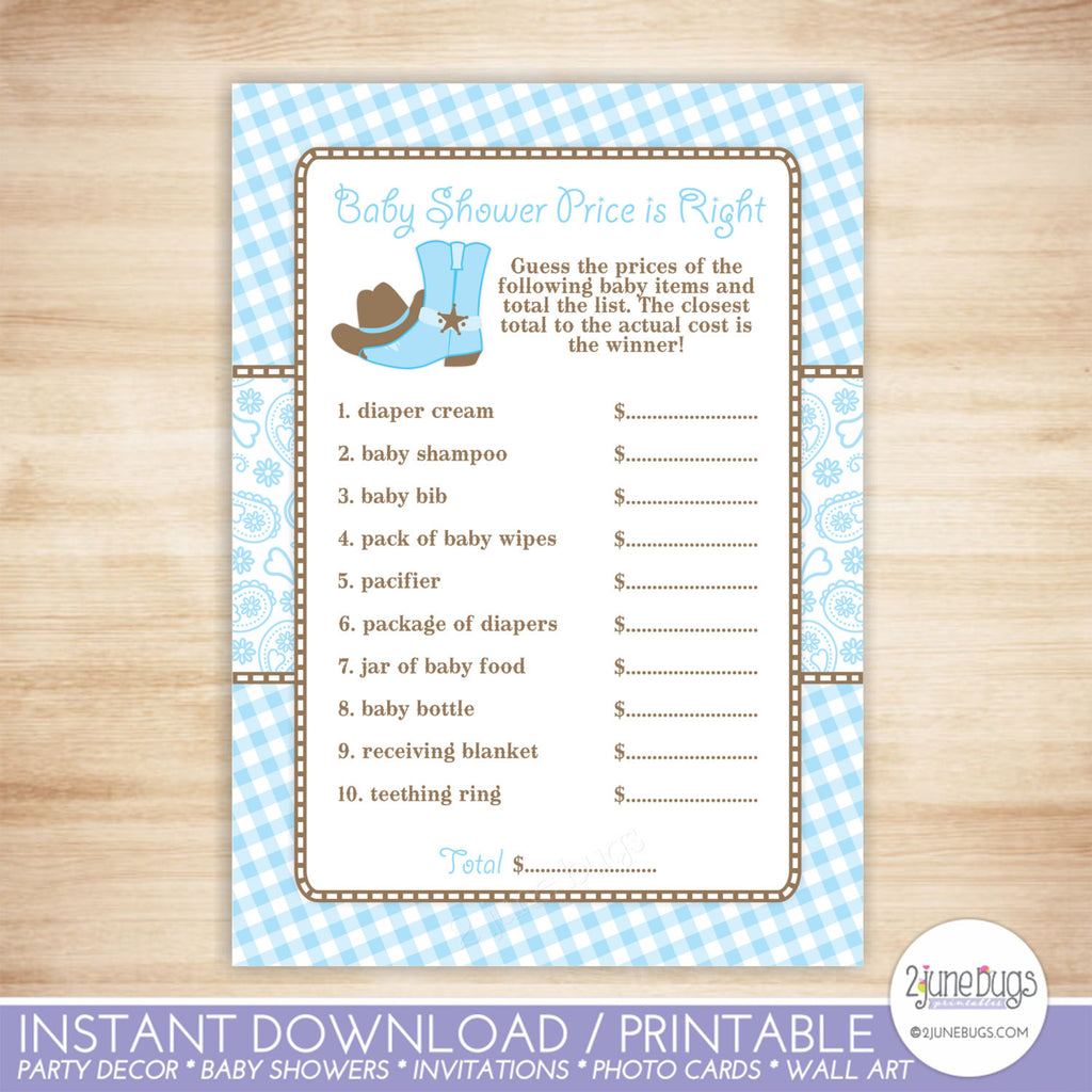 Cowboy Price is Right Baby Shower Game in Light Blue and Brown