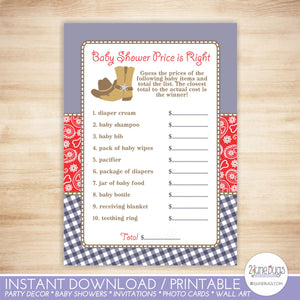 Cowboy Guess the Right Price Baby Shower Game in Navy Blue and Red