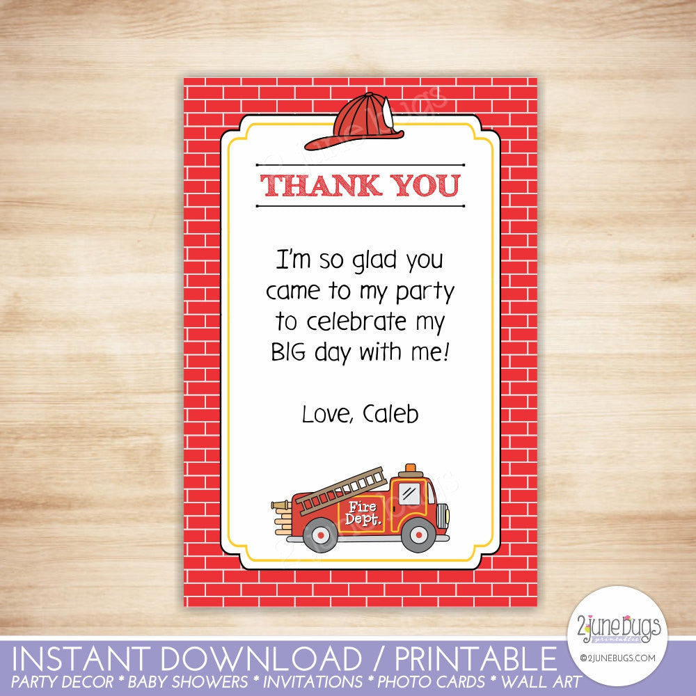 Fire Truck Flat Thank You Note