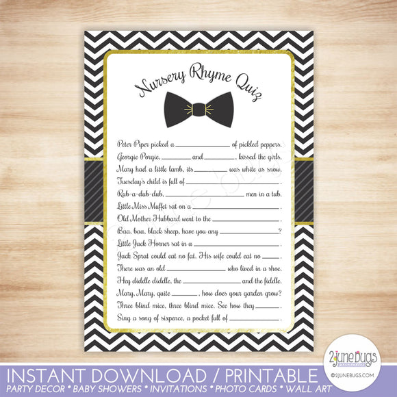 Bow Tie Nursery Rhyme Quiz Baby Shower Game in Black and Gold