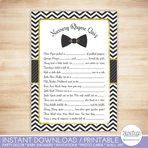 Bow Tie Baby Shower Nursery Rhyme Game in Black and Gold
