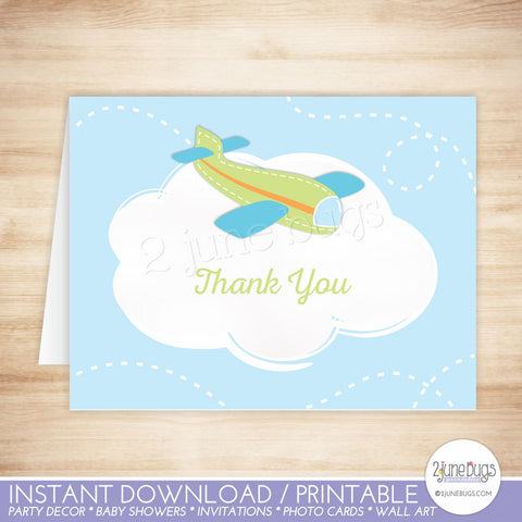 Green Airplane Thank You Card