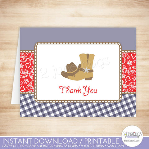 Navy Blue and Red Cowboy Thank You Card