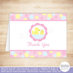 Pink Rubber Duck Thank You Card