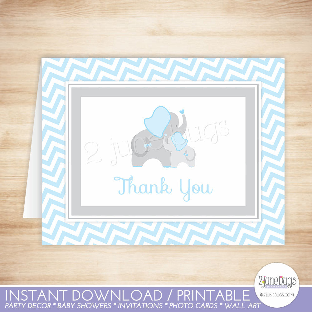 Blue and Gray Chevron Elephant Thank You Card
