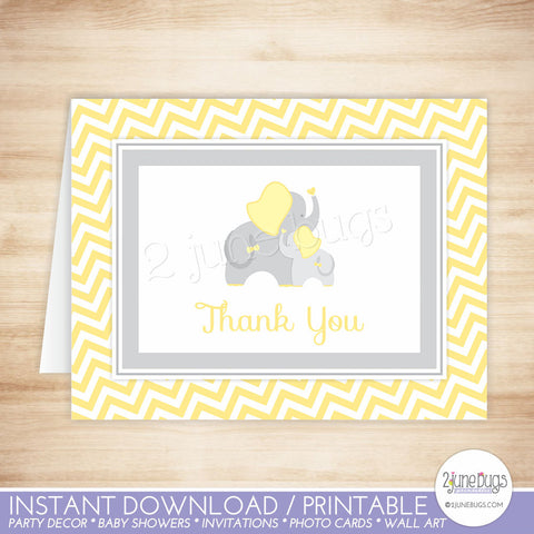 Yellow and Gray Chevron Elephant Thank You Card