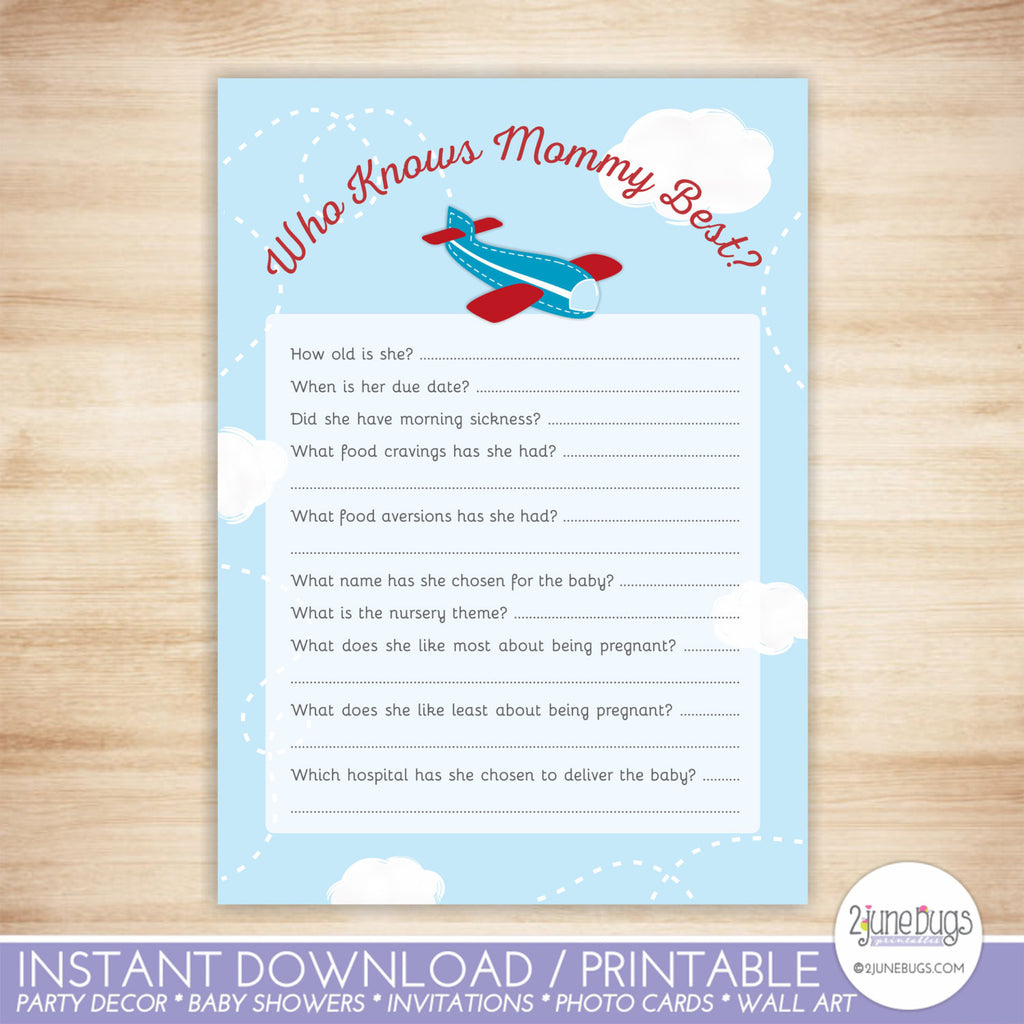 Airplane Who's My Mama Baby Animals Match Baby Shower Game in Red and Blue