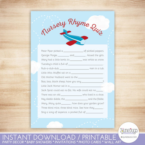 Airplane Nursery Rhyme Quiz Baby Shower Game in Red and Blue