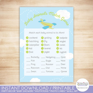Airplane Animal Match Baby Shower Game in Green and Blue