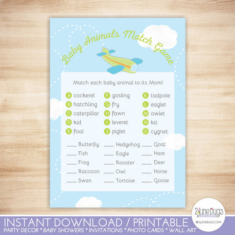 Airplane Baby Animal Match Baby Shower Game in Green and Blue