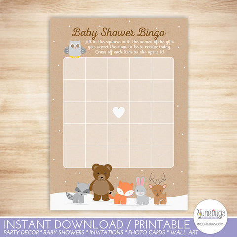 Woodland Animals Baby Shower Bingo Game