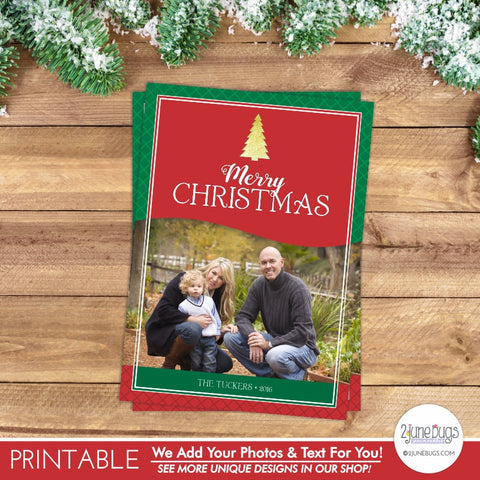 Gold Foil Christmas Tree Photo Card