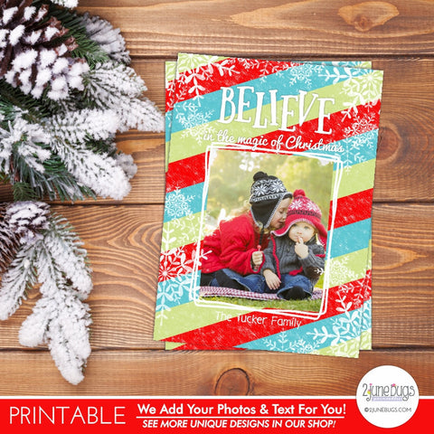 Believe Snowflakes Christmas Photo Card