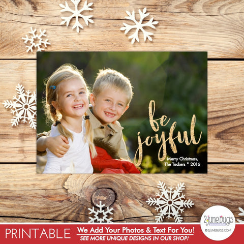 Be Joyful Wood Letters Christmas Photo Card