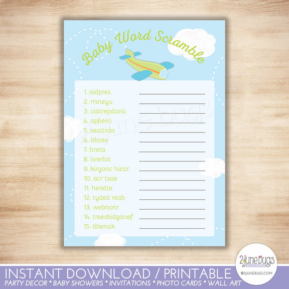 Airplane Word Scramble Baby Shower Game in Green and Blue