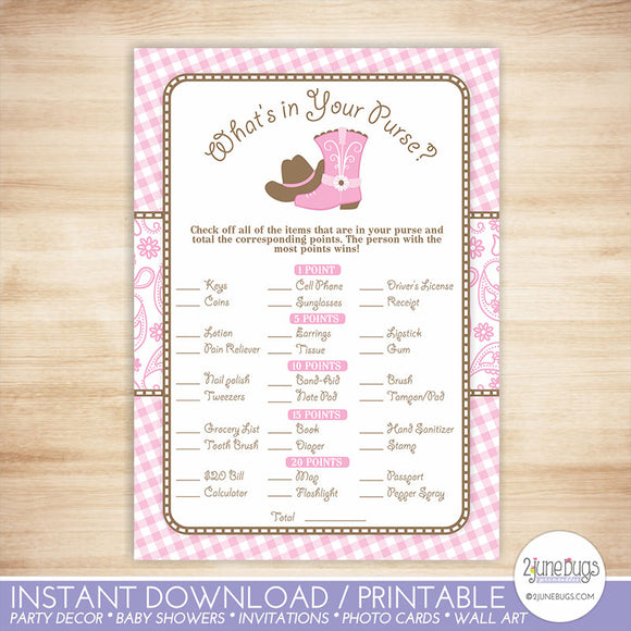 Cowgirl What's in Your Purse Baby Shower Game in Pink and Brown