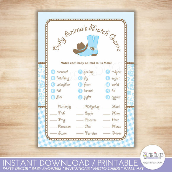 Cowboy Animal Match Baby Shower Game in Light Blue and Brown