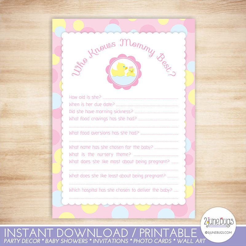Rubber Duck Who Knows Mommy Best Quiz Baby Shower Game