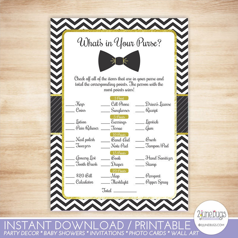 Bowtie What's In Your Purse Baby Shower Game in Black and Gold