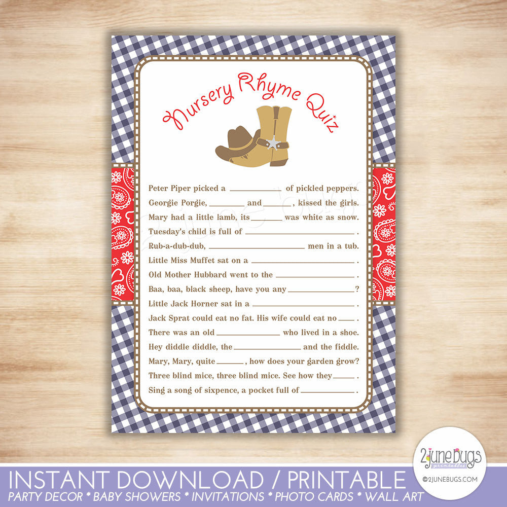 Cowboy Nursery Rhyme Quiz Baby Shower Game in Navy Blue and Red