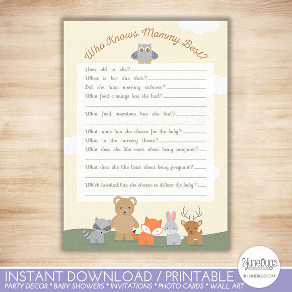 Woodland Who Knows Mommy Best Quiz Baby Shower Game