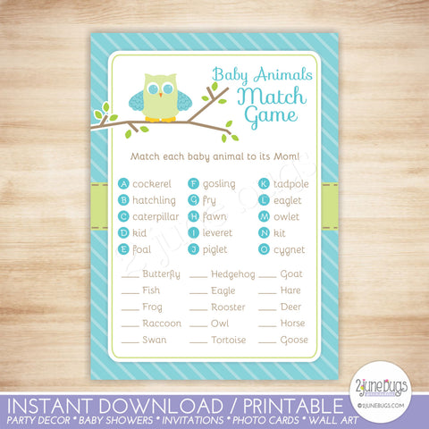 Blue Owl Baby Shower Baby Animal Match Game