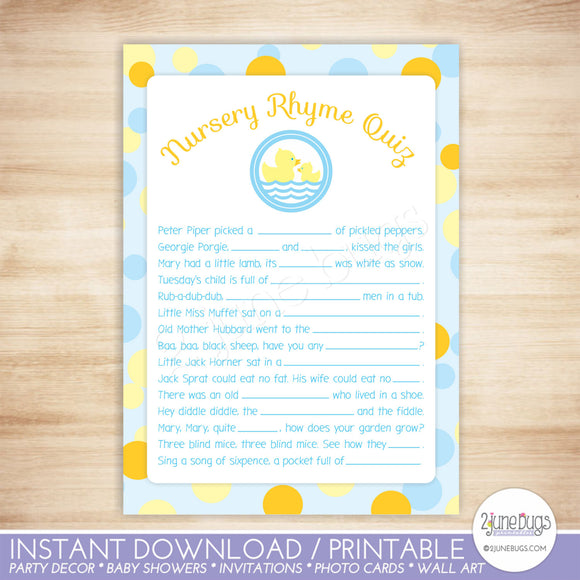 Rubber Duck Nursery Rhyme Quiz Baby Shower Game
