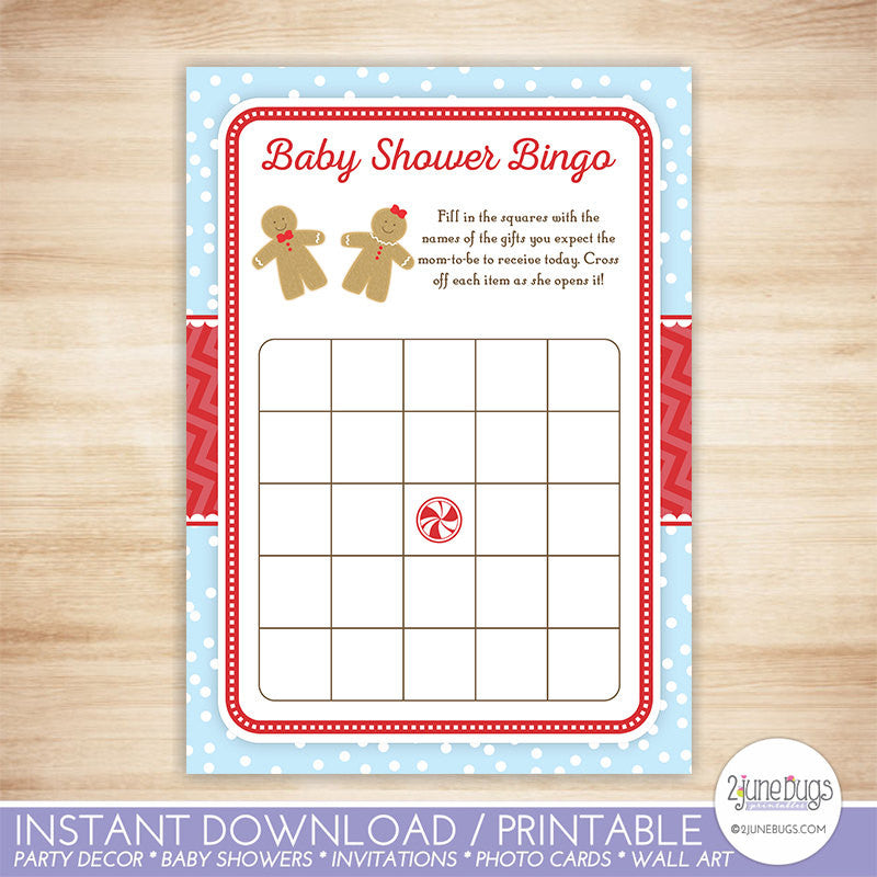 Gingerbread Baby Shower Bingo Game Card