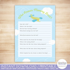Airplane Who Knows Mommy Best Quiz Baby Shower Game in Green and Blue