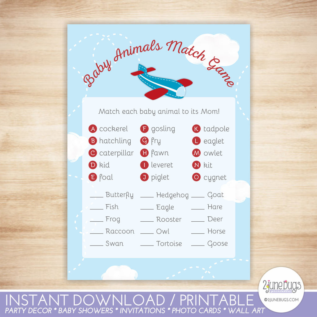 Airplane Baby Animal Match Baby Shower Game in Red and Blue