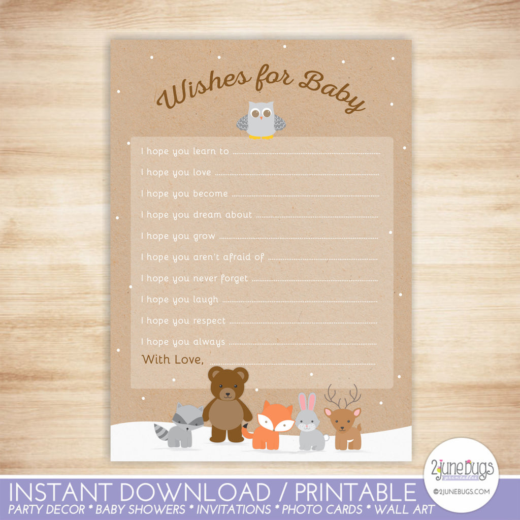 Woodland Animals Baby Shower Well Wishes for Baby Activity