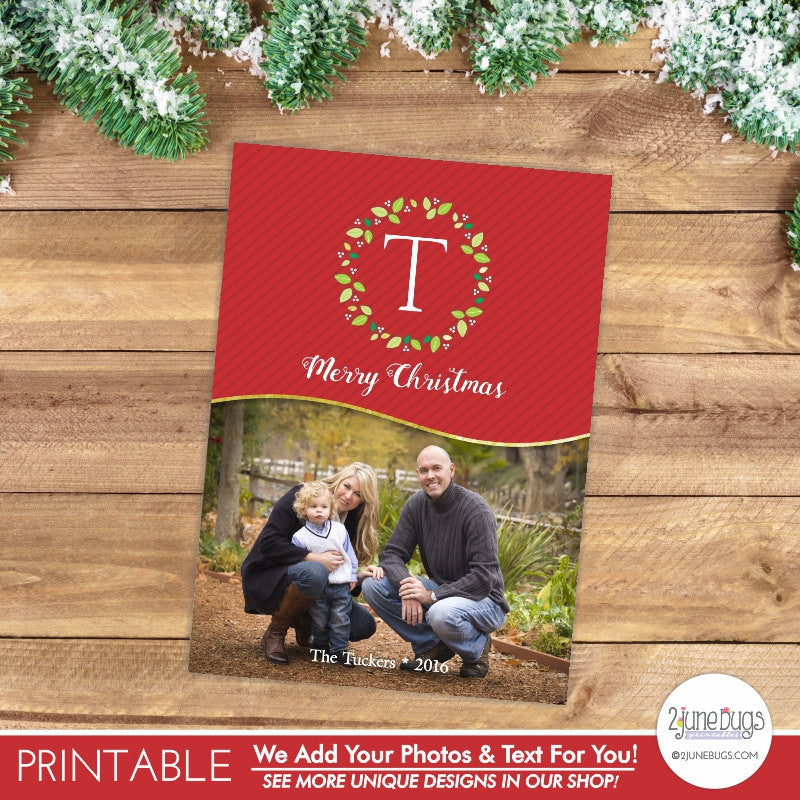 Monogram Photo Christmas Card