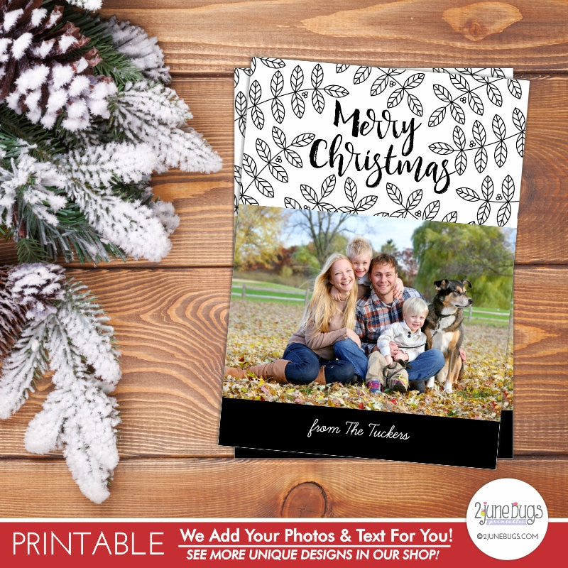 Elegant Black and White Branches Christmas Photo Card