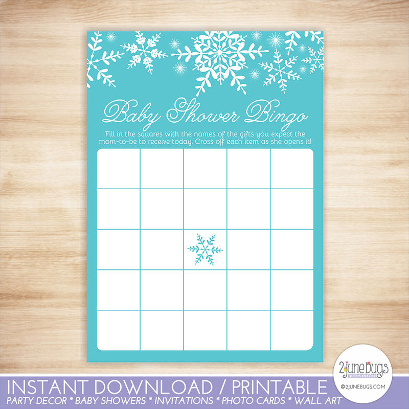 Snowflakes Baby Shower Bingo Game Card in Blue