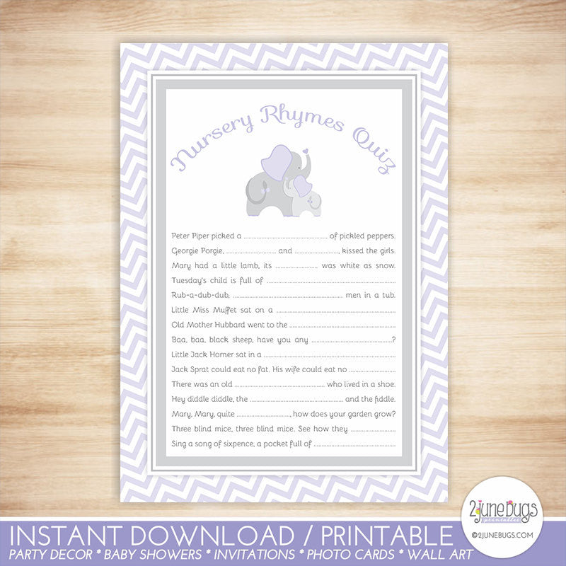 Elephant Nursery Rhymes Quiz Baby Shower Game in Purple and Gray