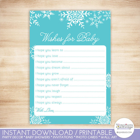 Snowflakes Baby Shower Well Wishes for Baby Activity Blue