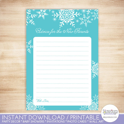 Snowflakes Advice for Parents to be Baby Shower Activity in Blue