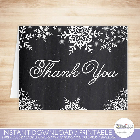 Chalkboard Snowflakes Thank You Card