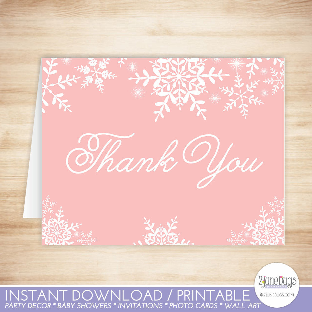 Winter Snowflakes Thank You Card in Pink
