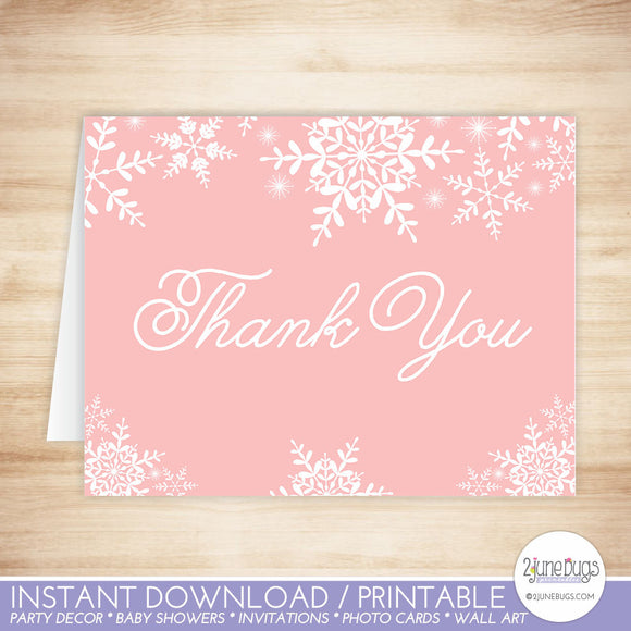 Pink Snowflakes Thank You Card