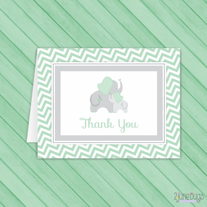 Mint Green Chevron Elephant Thank You Card