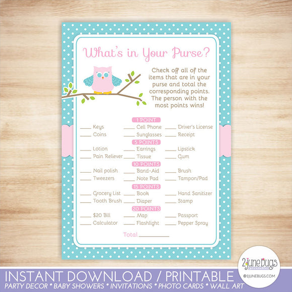 Owl What's in Your Purse Baby Shower Game in Pink