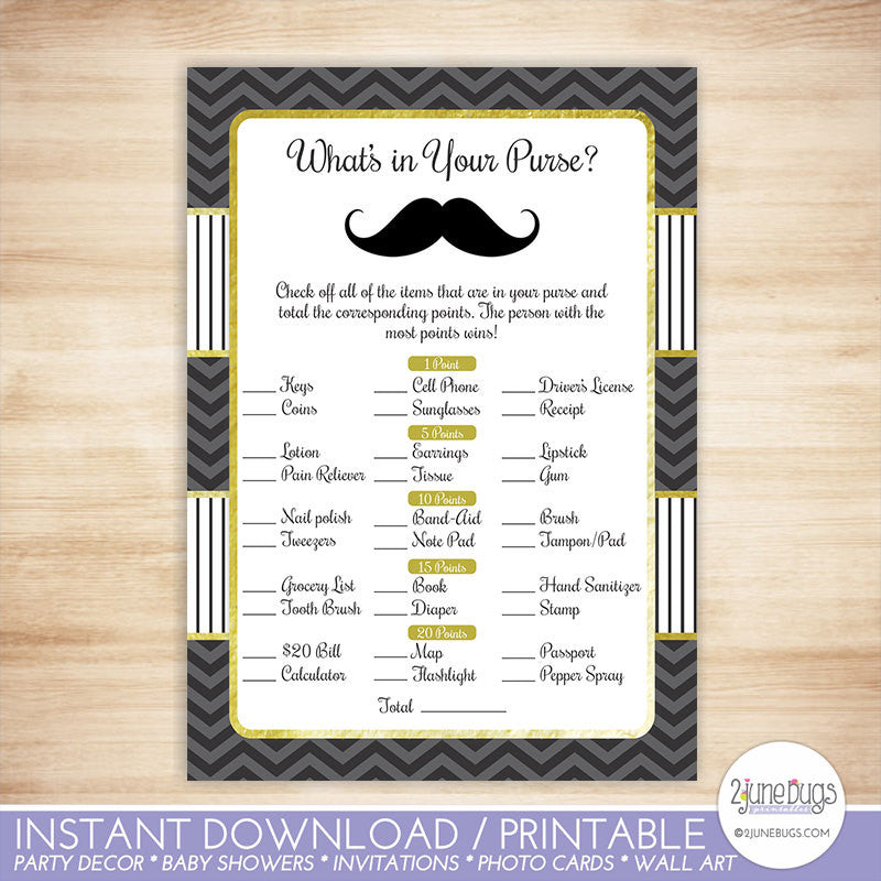Mustache What's in Your Purse Baby Shower Game in Black and Gold