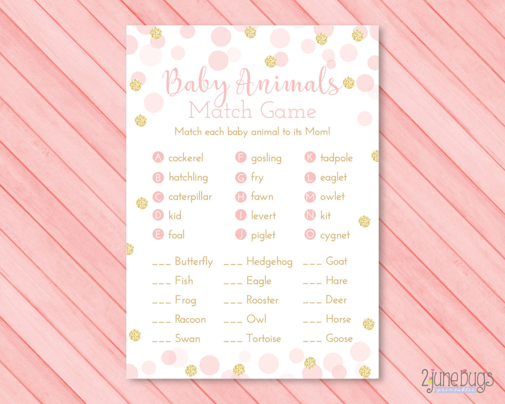 Glitter Confetti Who's My Mama Baby Animals Match Baby Shower Game in Pink and Gold