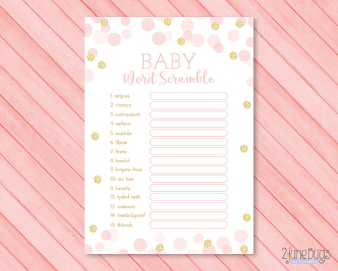 Confetti Dots Word Scramble Baby Shower Game in Pink and Gold Glitter