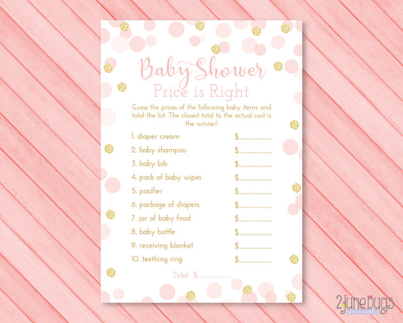 Confetti Guess the Right Price Baby Shower Game in Pink and Gold Glitter Dots