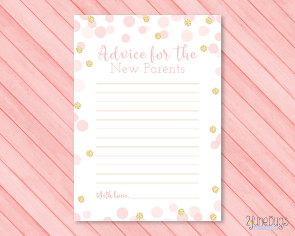 Confetti Words of Advice Baby Shower Activity in Pink and Gold Glitter Dots