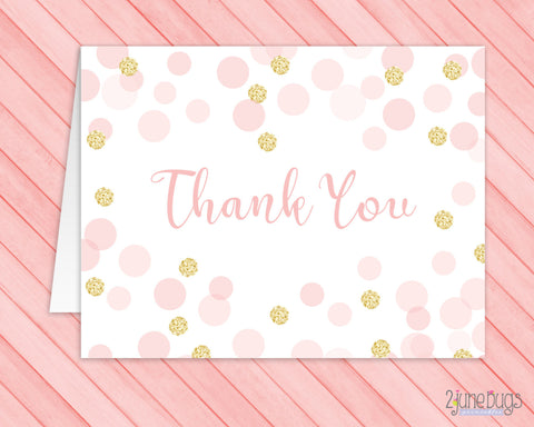 Pink and Gold Glitter Confetti Thank You Card