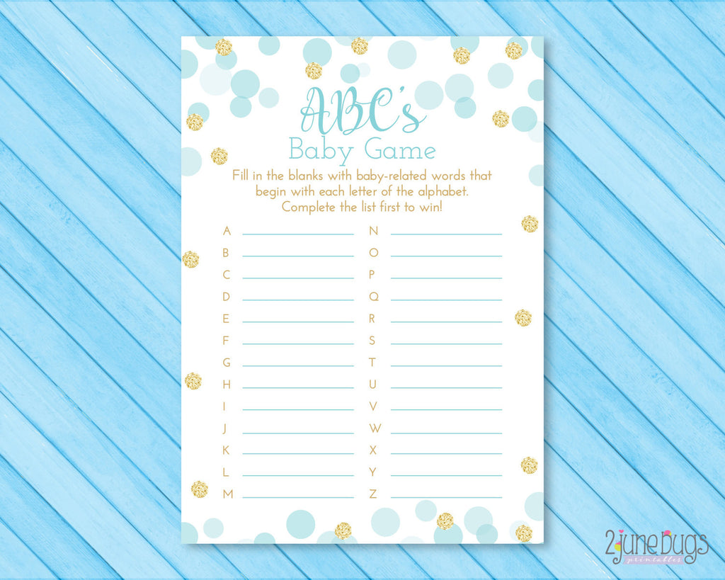 Confetti Dots ABC's Baby Shower Game in Blue and Gold Glitter