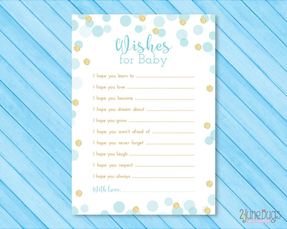 Confetti Baby Shower Wishes for Baby Activity in Blue and Gold Glitter Dots